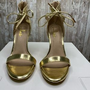 Gold Lulus high heel